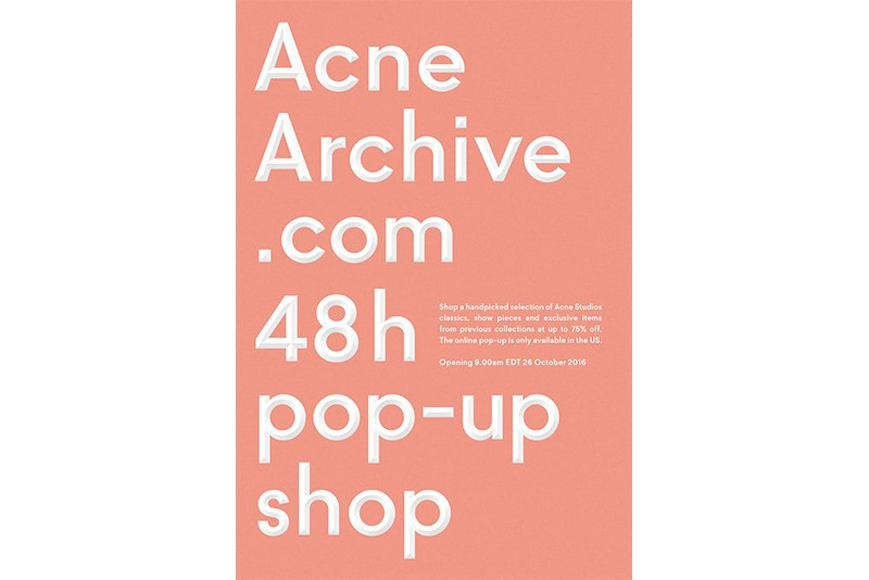 Acne Studios Archive Online Pop Up