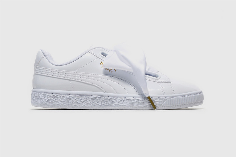 Puma Basket Heart Patent In White