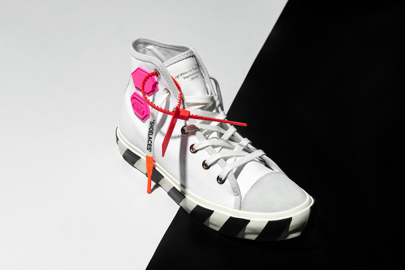 New Arrivals: Off-White™ Vulcanised Striped Hi Top Sneaker