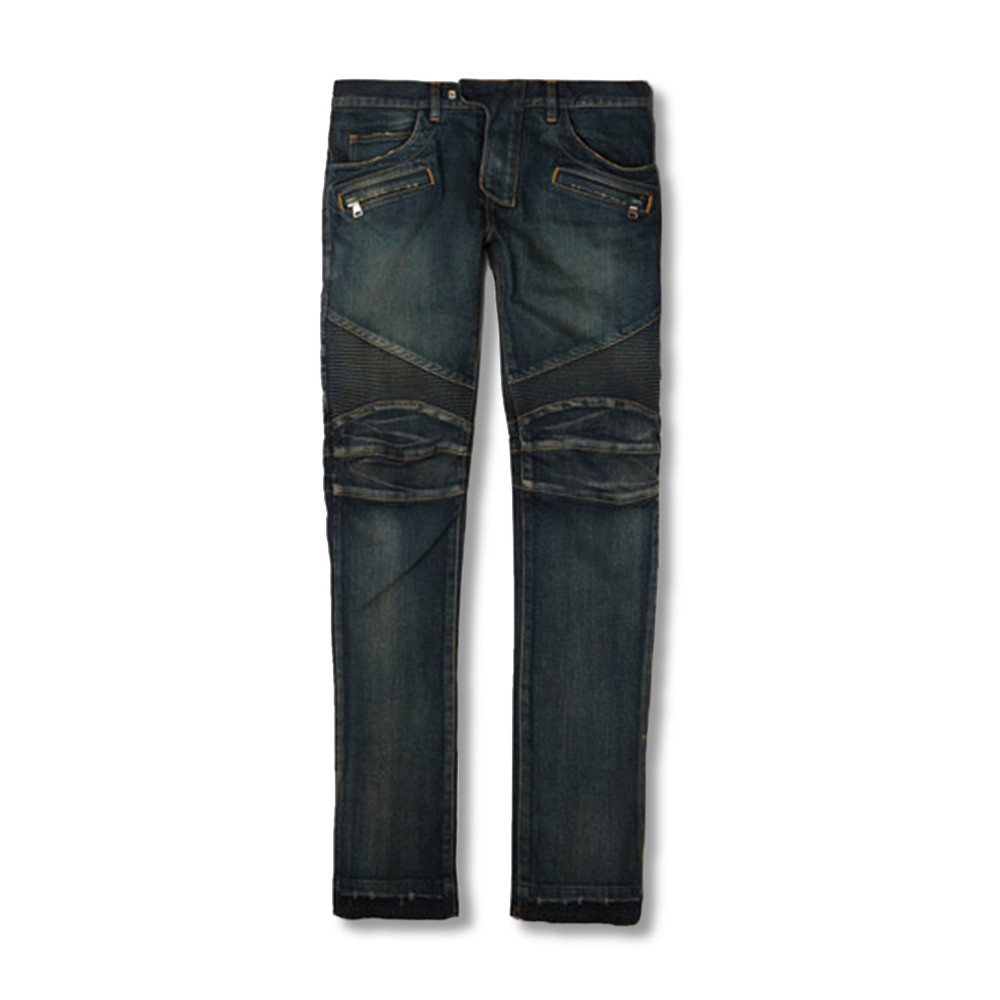 Balmain Regular-Fit Washed Stretch-Denim Biker Jeans