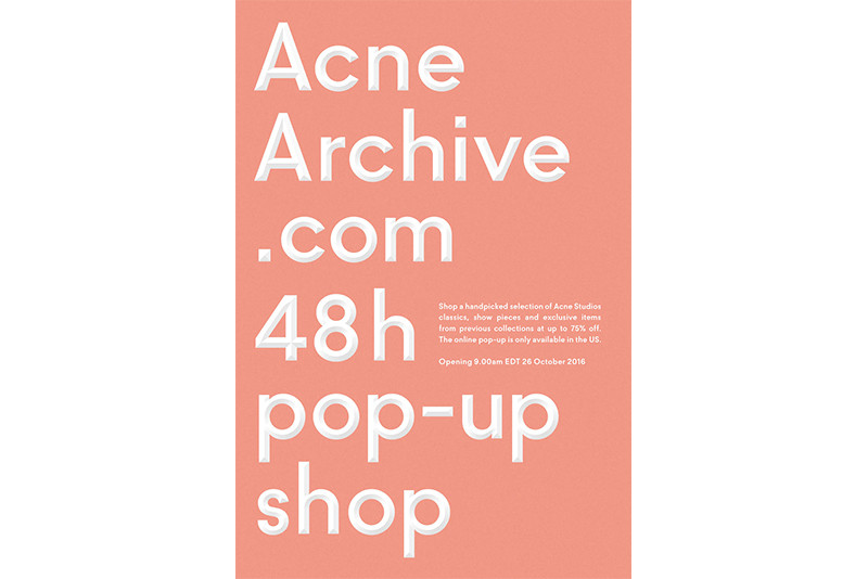 Acne Archive Pop up Site