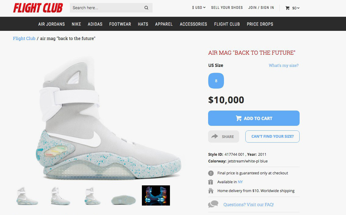 Back To The Future Nike Air Mags Price Nike Mags For Sale  4123b6417320