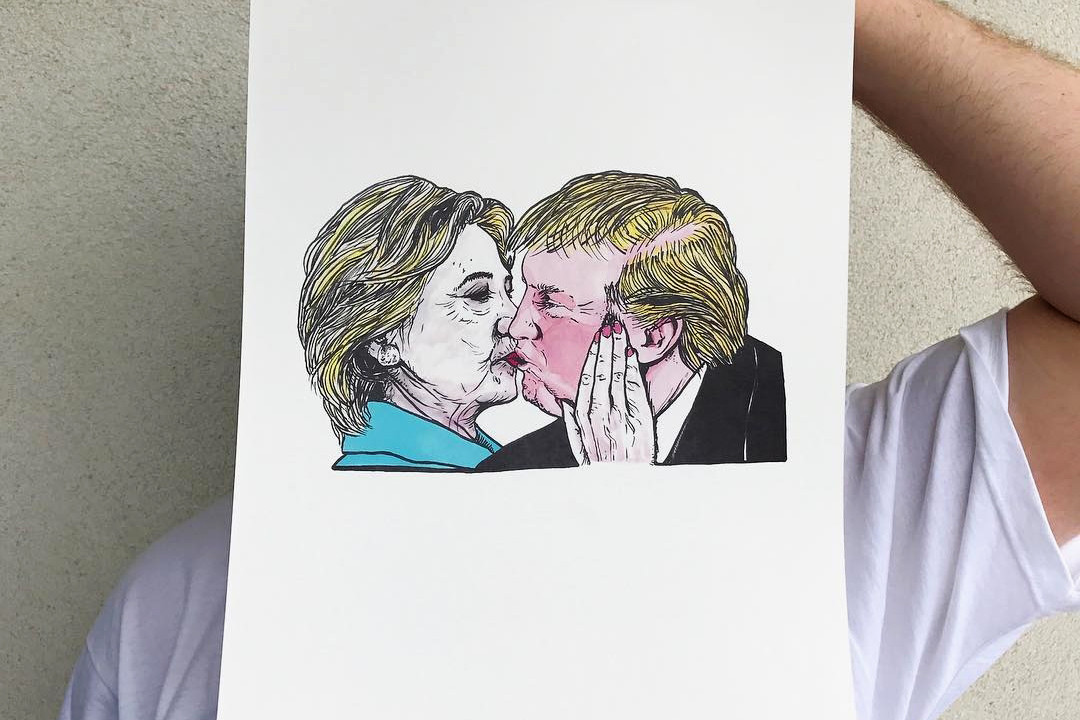 Lushsux Bring Cash Exhibit Art Donald Trump Hillary Clinton