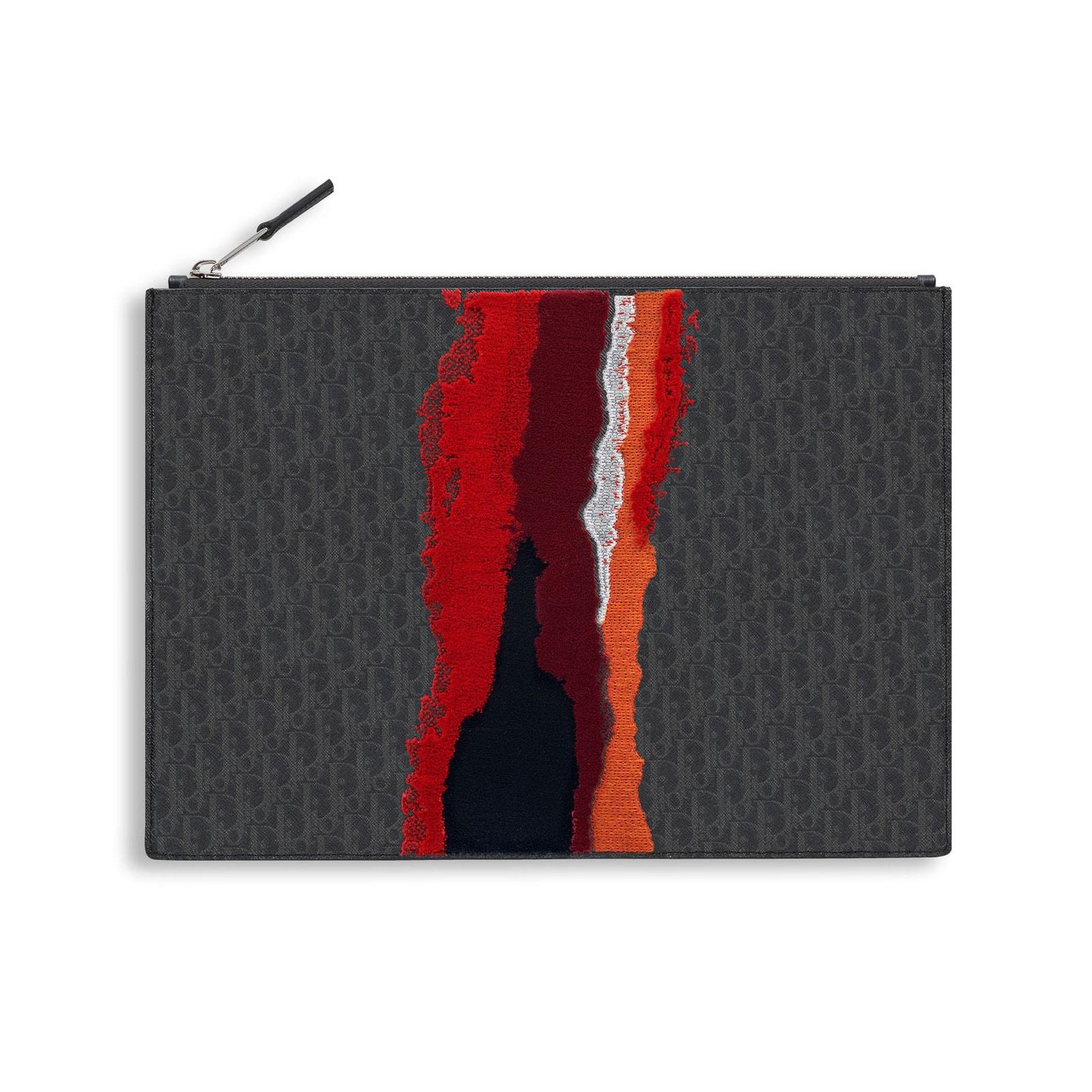 Dior Homme Red Tufted Darklight Canvas Pouch