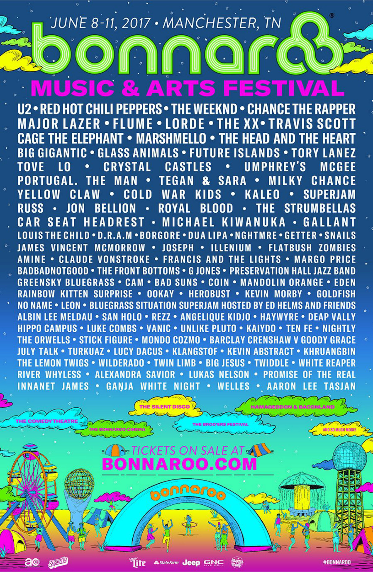 Bonnaroo 2017 Line Up Flyer