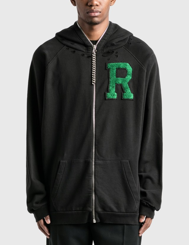 Raf Simons Badge And Print Oversized Zipped Hoodie Black Men