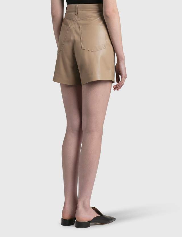 Nanushka Leana Vegan Leather Shorts Sandstone Women