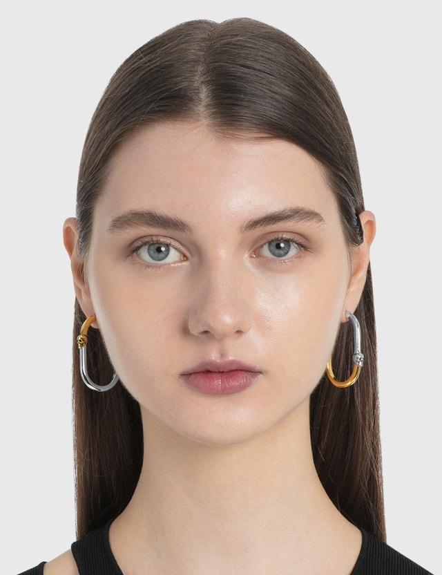 Alexander McQueen Bi-Colour Skull Hoop Earrings