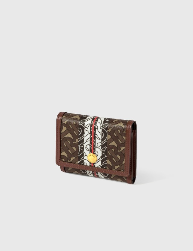 Burberry Small Monogram Stripe E-canvas Folding Wallet
