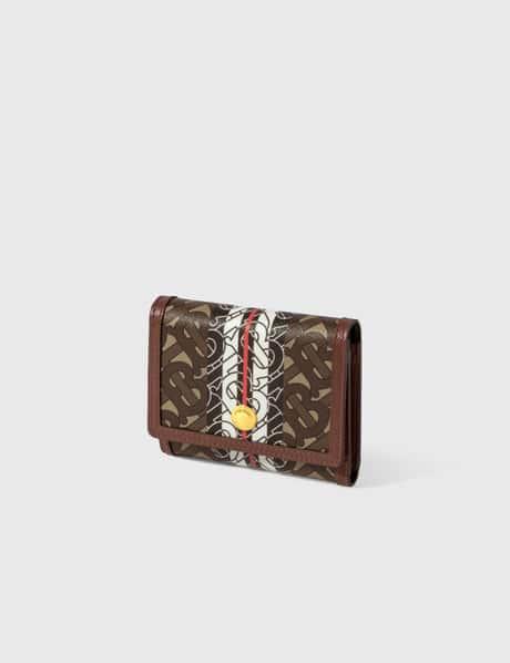버버리 Burberry Small Monogram Stripe E-canvas Folding Wallet
