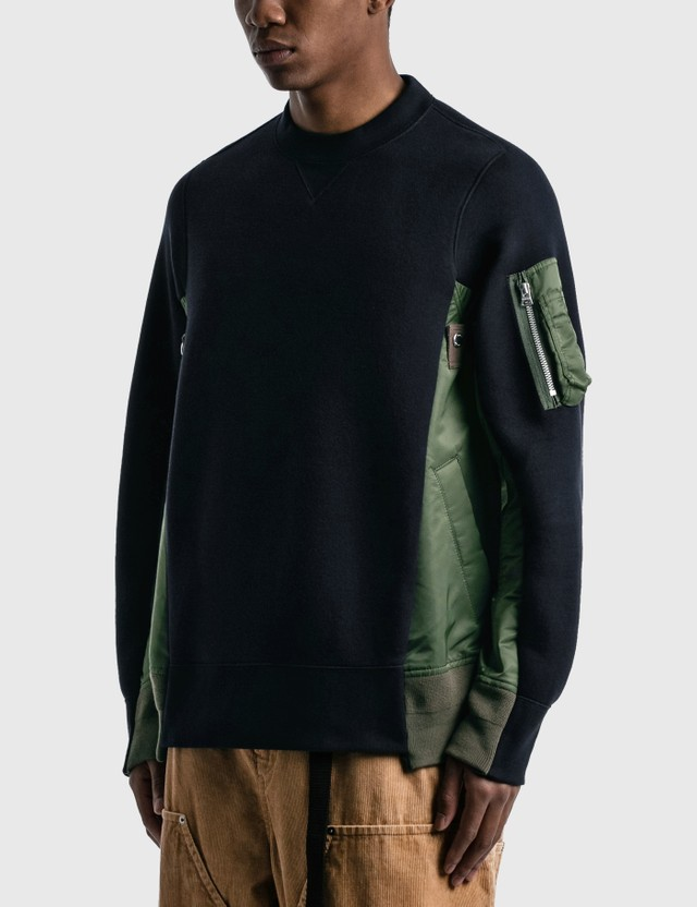 Sacai Sponge Sweat X MA-1 Pullover Navy X Khaki Men