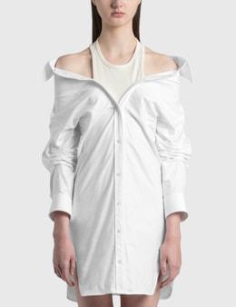 Alexander Wang.T Off-Shoulder Shirt Dress With Inner Tank