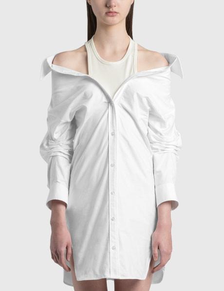 알렉산더 왕.T 이너 탱크 셔츠 원피스 Alexander Wang.T Off-Shoulder Shirt Dress With Inner Tank