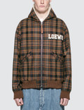 Loewe Zip Shearling Hooded Check Jacket Picture