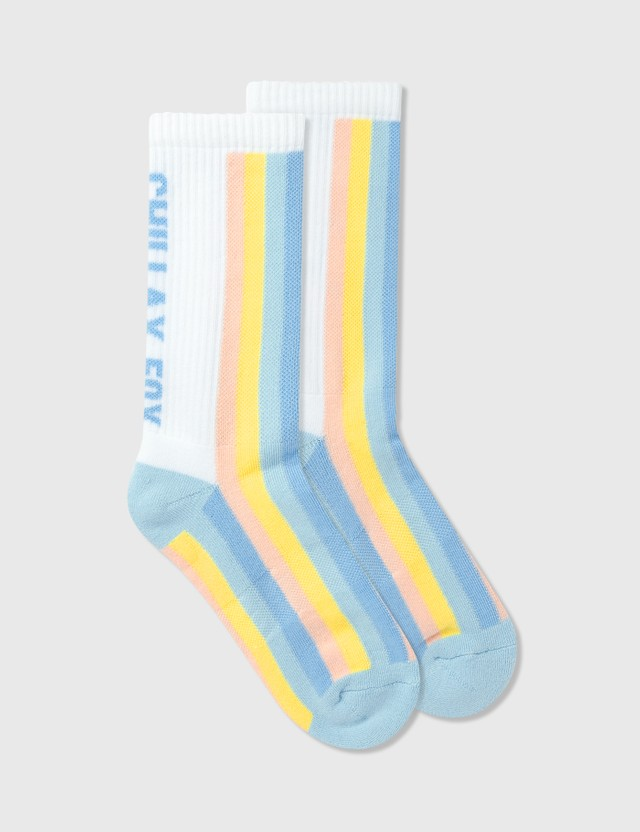 Maison Kitsune Striped Sporty Socks Pastel Stripes Women