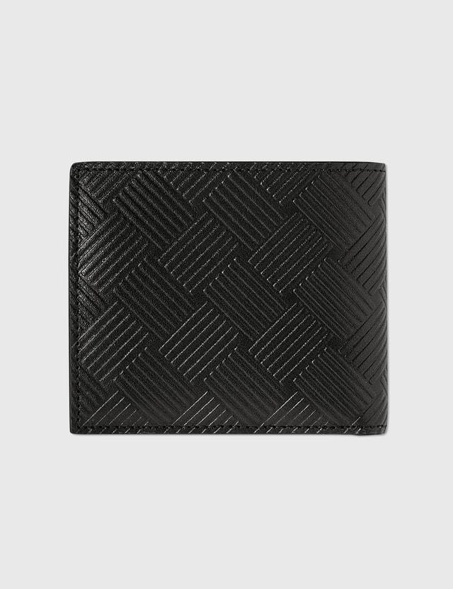Bottega Veneta Intrecciato Textured Leather Wallet Black-silver. Men