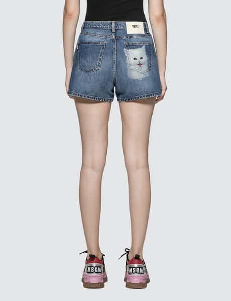 MSGM 고양이 프린트 데님 반바지 Cat Printed Denim Shorts