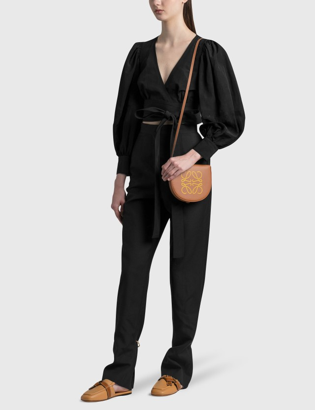Loewe Balloon Sleeve Wrap Top Black Women