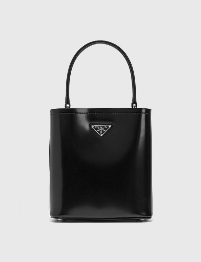 Prada Leather Tote With Small Pouch Nero Women