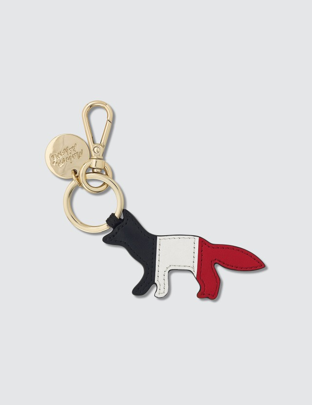 Maison Kitsune Leather Tricolor Fox Keyring