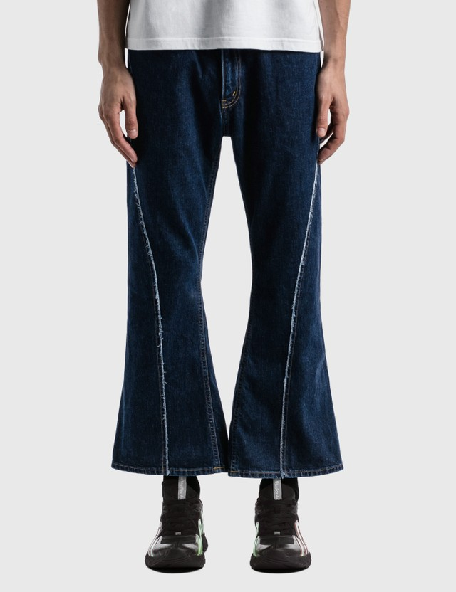 JieDa Boots Cut Denim Pants Blue Men