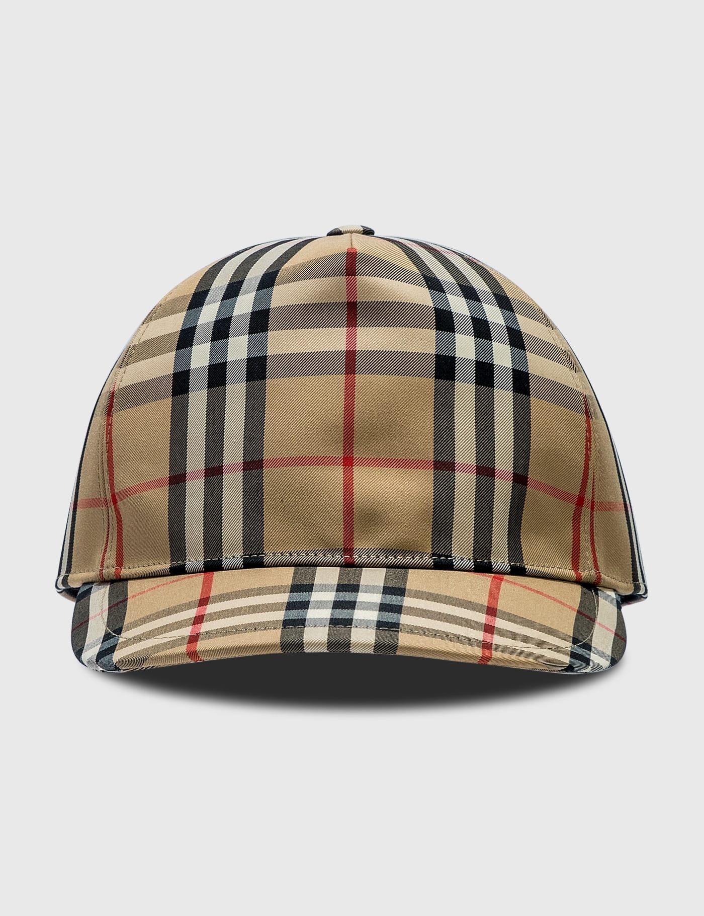 버버리 Burberry Logo Applique Vintage Check Baseball Cap