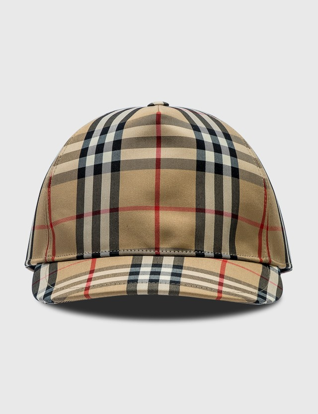 Burberry Logo Appliqué Vintage Check 베이스볼 모자 Archive Beige Men
