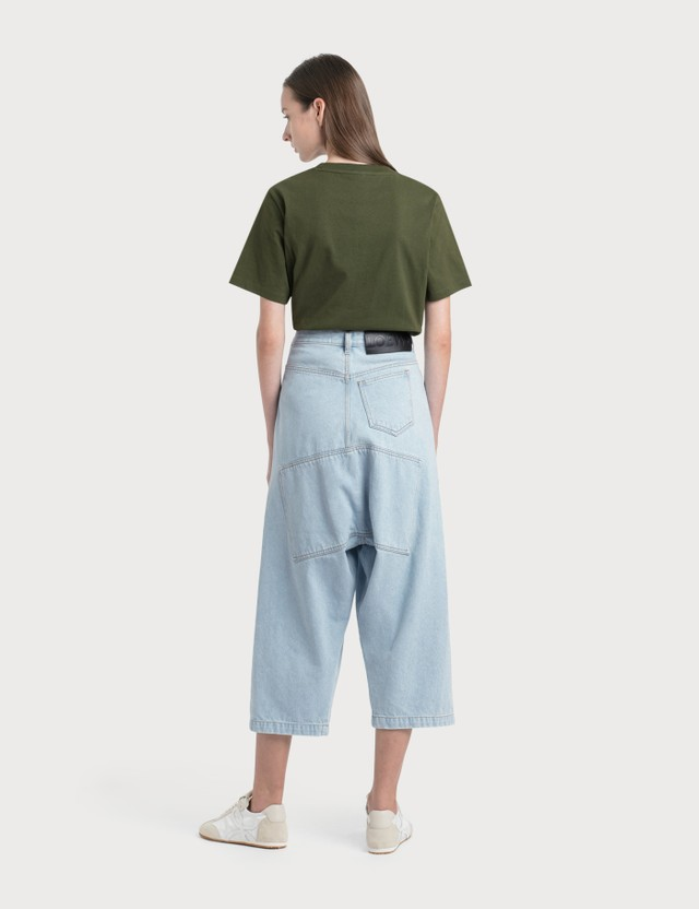 Loewe Cropped Oversize Jeans Light Blue Women