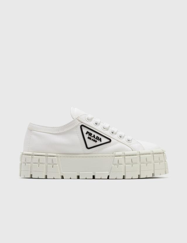 Prada Gabardine Low Top Platform Sneaker Bianco+nero Women