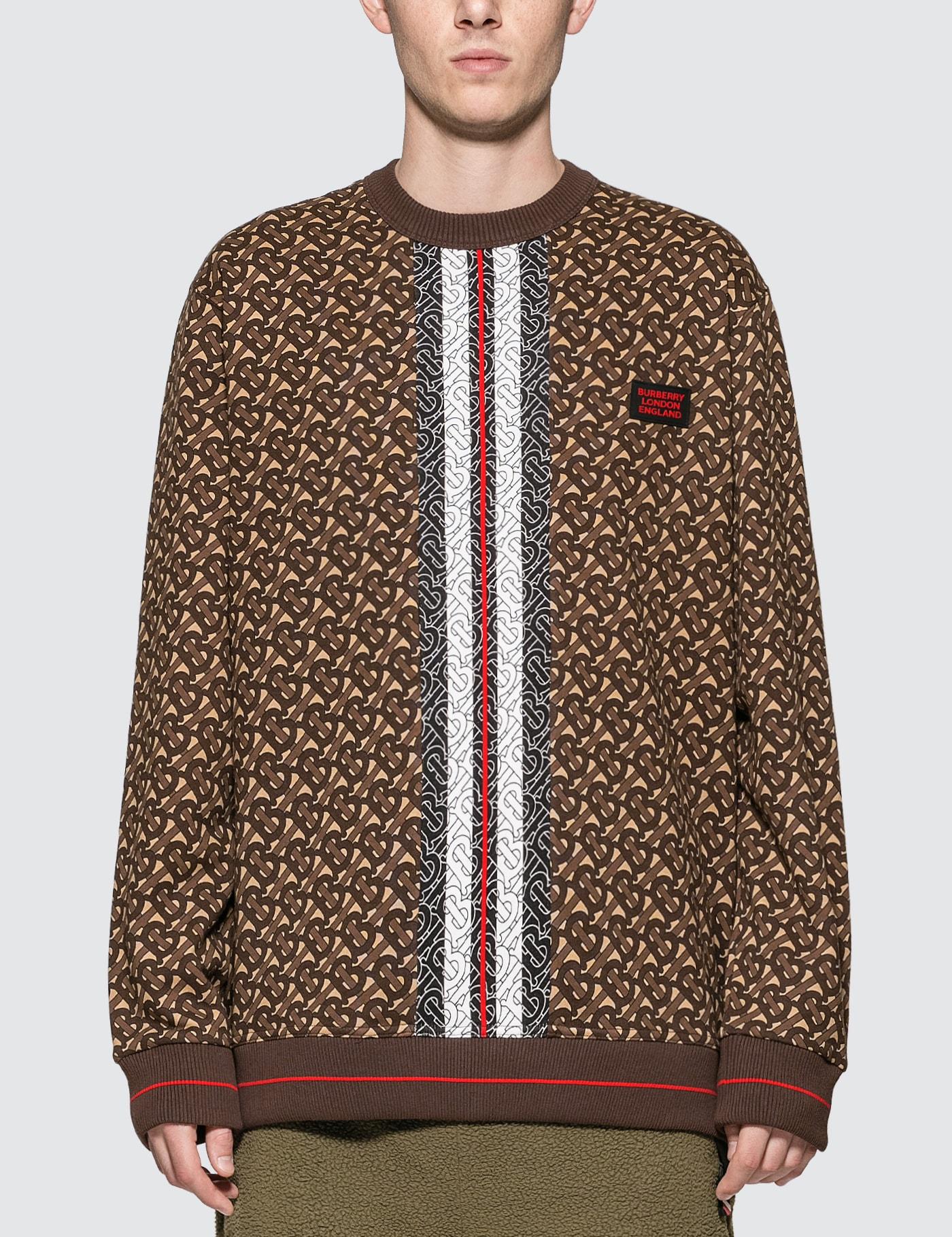 Monogram Stripe Print Cotton Sweatshirt