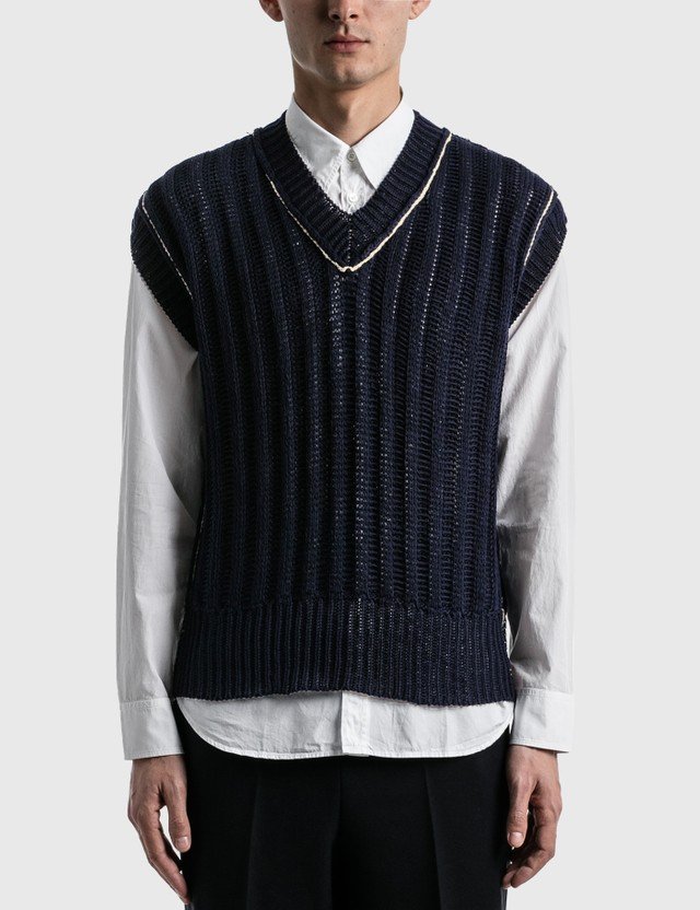 Maison Margiela Ribbed Sleeveless Sweater Navy Men
