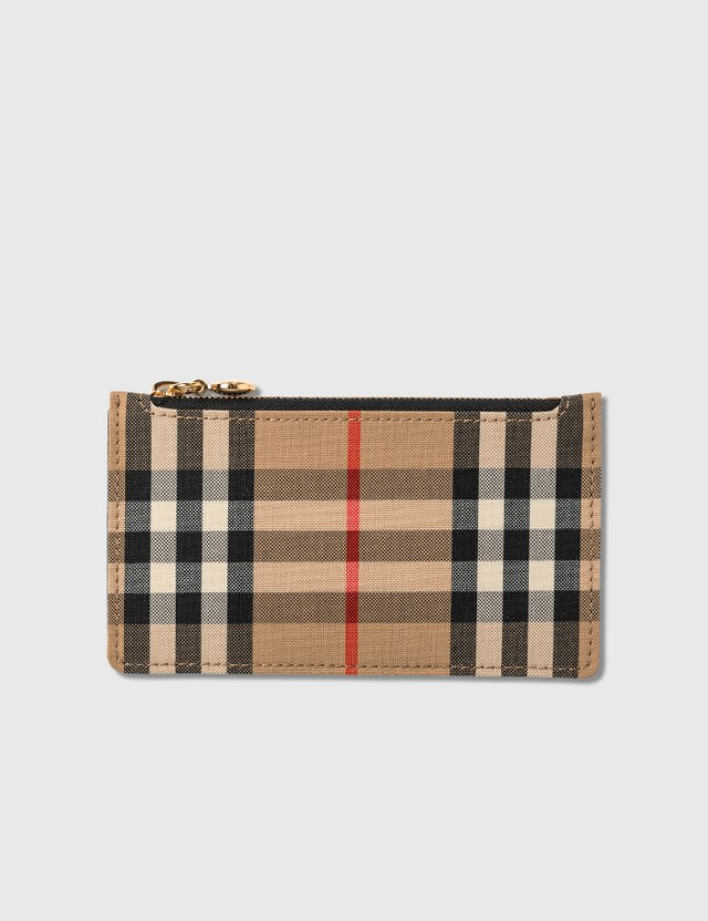 Burberry Vintage Check and Leather Zip Card Case Black Women