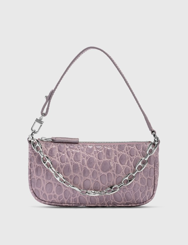 BY FAR Mini Rachel Lilac Croco Embossed Leather Bag