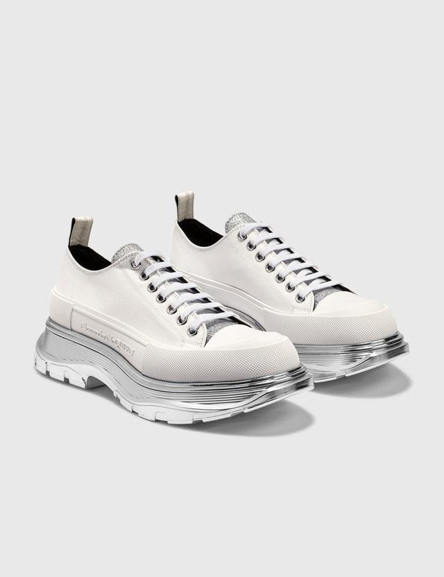 Alexander McQueen Tread Slick Lace Up Sneaker White/silver Men