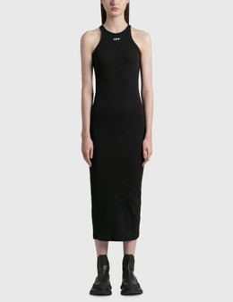 Off-White Basic Ribbed Dress