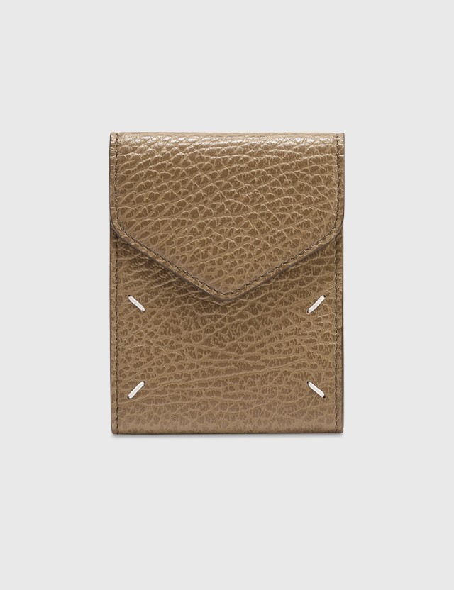 Maison Margiela Grainy Leather Card Holder With Strap Camel Women