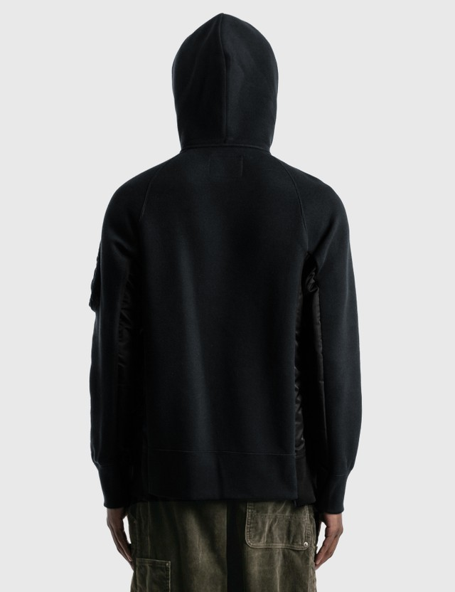 Sacai Sponge Sweat x MA-1 Hoodie Black X Black Men