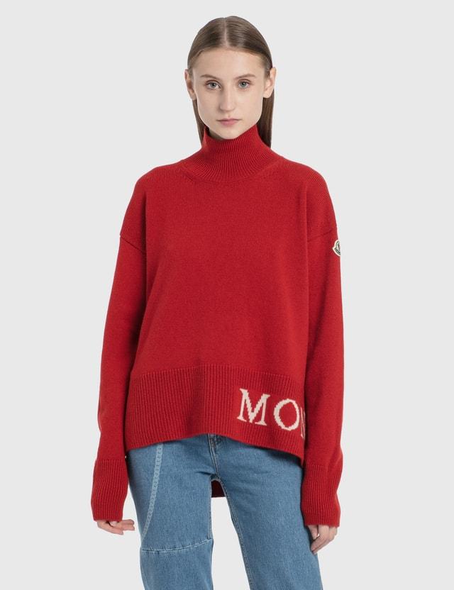 Moncler Turtleneck Logo Knit Pullover