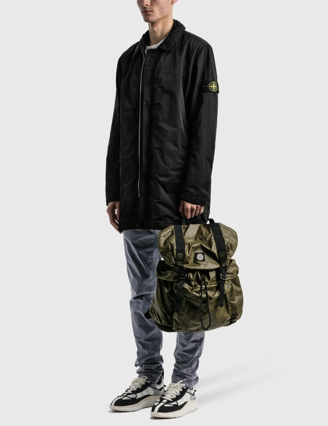 Stone Island Mussola Gommata Canvas Print Backpack Olive Men
