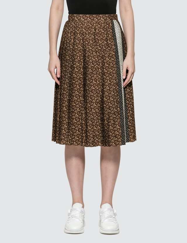 Burberry Monogram Stripe Print Crepe Pleated Skirt Black Ip Pattern Women