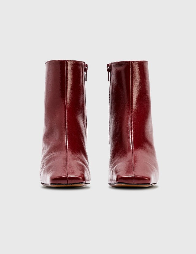 BY FAR Lange Bordeaux Creased Leather Boots Bordeaux Bx Women