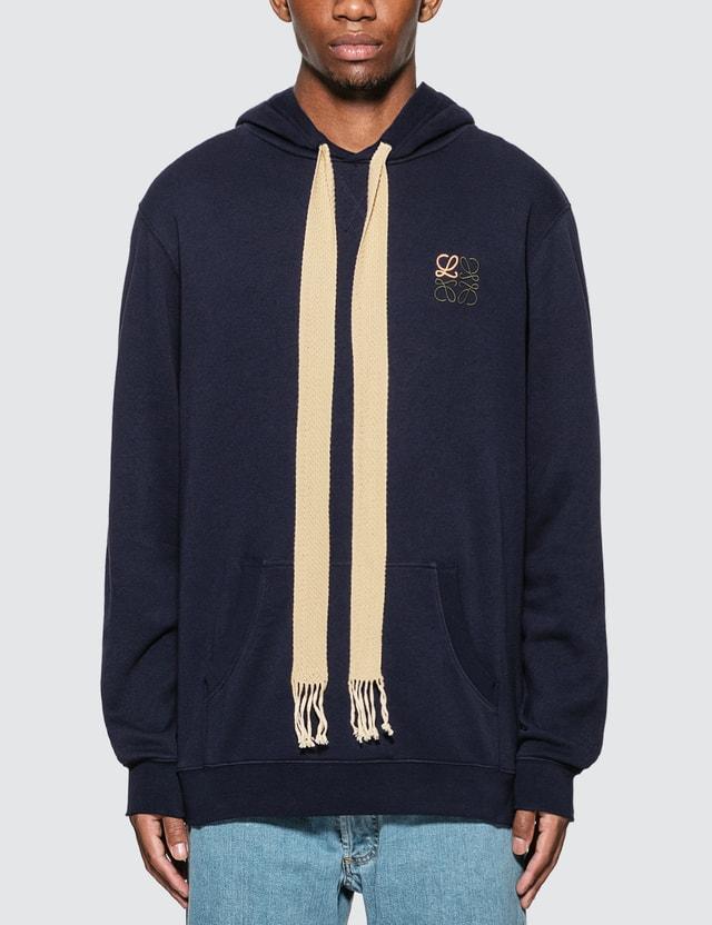 Loewe Anagram Embroidered Hoodie Navy Blue Men