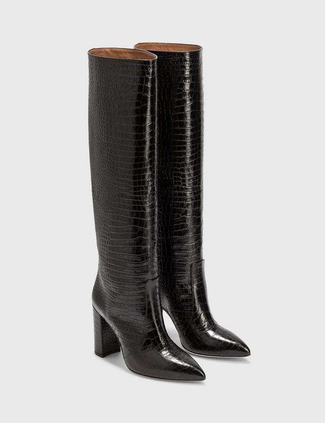 Paris Texas Embossed Croc Block Heel Boot