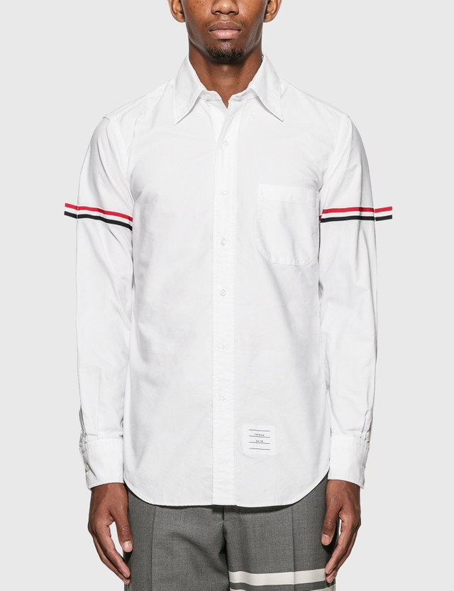 Thom Browne Grosgrain Arm Band Oxford Shirt White Men