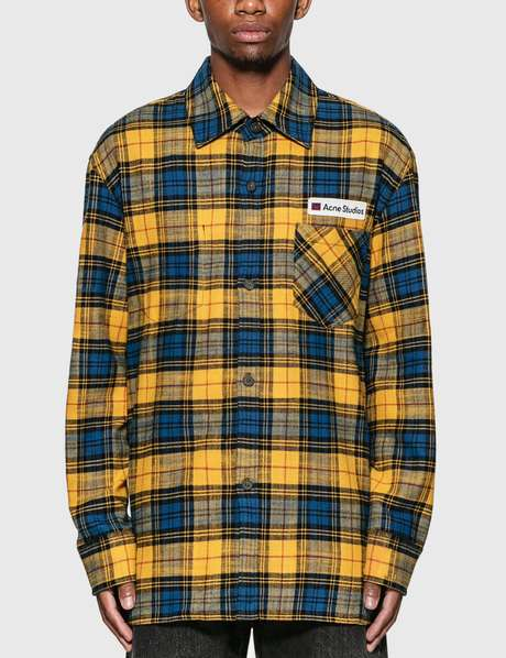 아크네 스튜디오 Acne Studios Logo Patch Flannel Overshirt