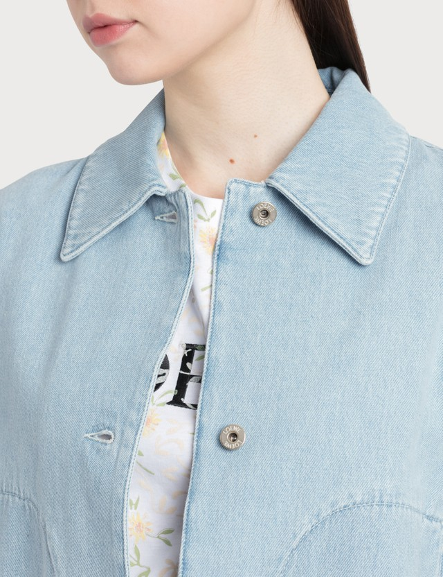 Loewe Denim Jacket Embroidered Cuffs Light Blue Women