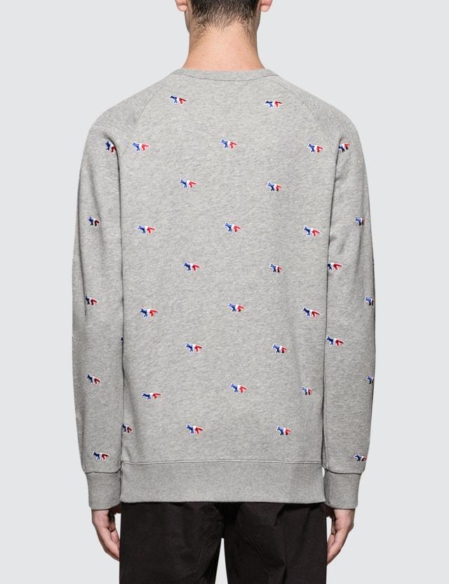 Maison Kitsune All-Over Tricolor Fox Embroidery Sweatshirt