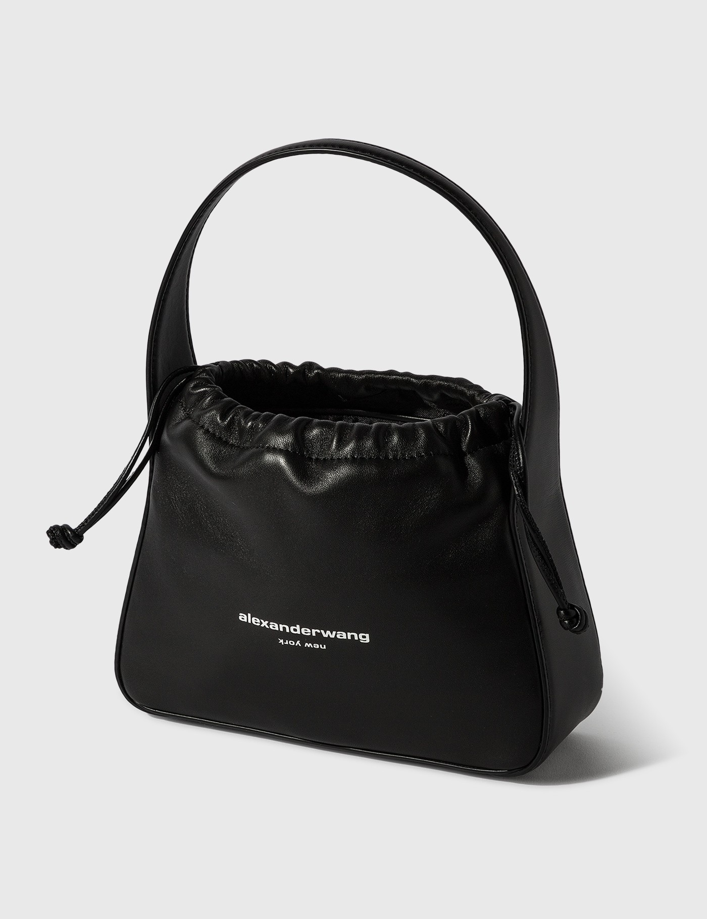 Alexander Wang Leathers RYAN SHOULDER BAG - BLACK SATIN/PALMELATO LEATHER