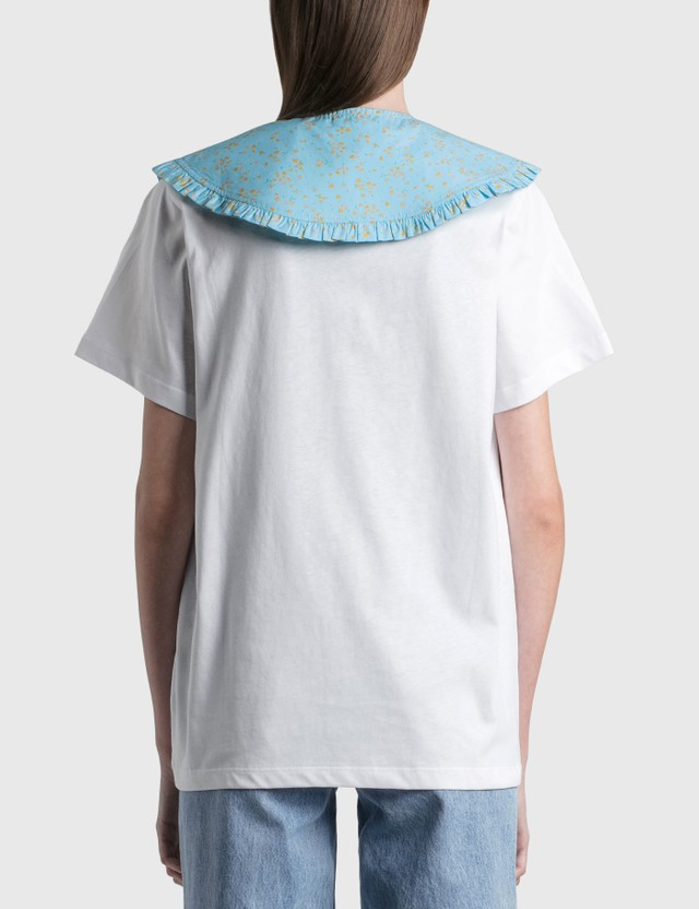 Ganni Printed Cotton Poplin Collar Corydalis Blue Women
