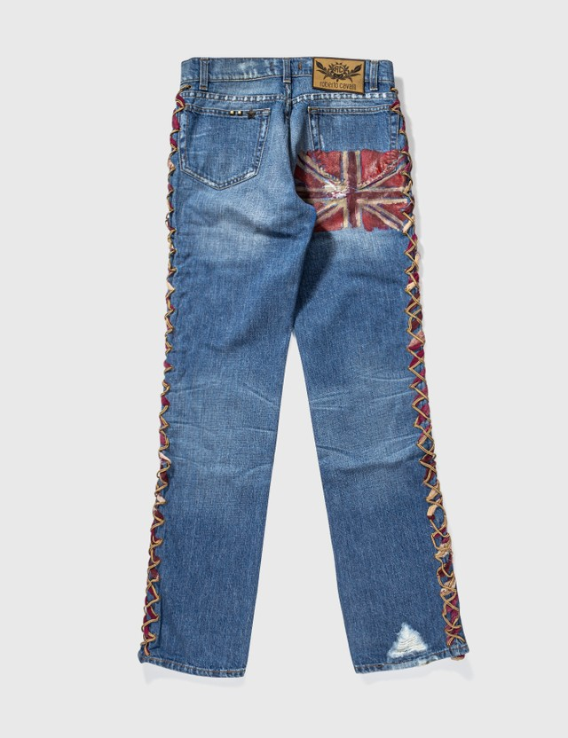 ROBERTO CAVALLI Roberto Cavalli Lace Up Trimming Washed Jeans Blue Archives
